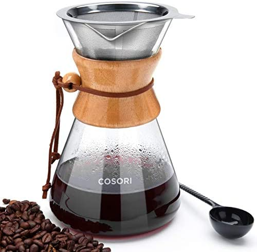 COSORI Pour Over Coffee Maker 8 Cup Glass Coffee Pot Coffee Brewer with Stainless Steel Filter product image