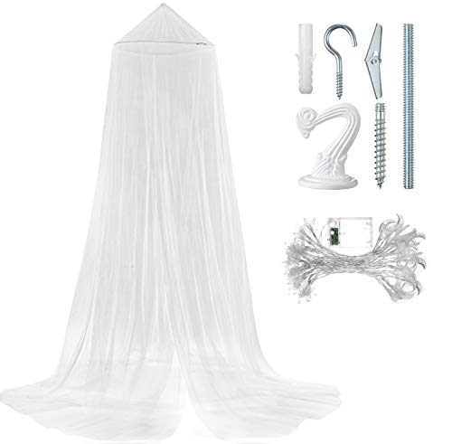 White Bed Canopy Mosquito Net, Moon and Star String Light and Ceiling Hanger for Baby, Kids or Adults, Covering Baby Crib, Kid Bed, Girls Bed or Full Size Bed