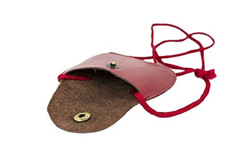 LEAS Kinder Brustbeutel aus Echt-Leder mit Druckknopf und verstellbarem Umhängeband perfekt für Schule und Kindergarten 9x7,5x1cm (BxHxT) (rot)