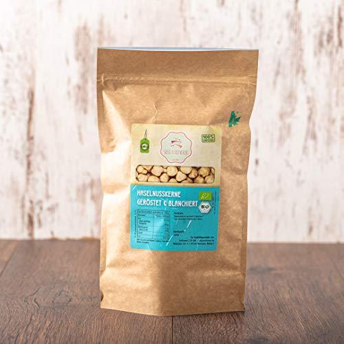 süssundclever.de® Bio Haselnusskerne, blanchiert & geröstet | 1 kg | 100% naturbelassen| Premium Qualität | plastikfrei und ökologisch-nachhaltig abgepackt