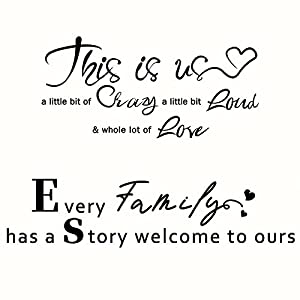 2 pieces this is us crazy loud love wall decal inspirational family love vinyl quote wall decal art lettering saying home decoration for living room bedroom church