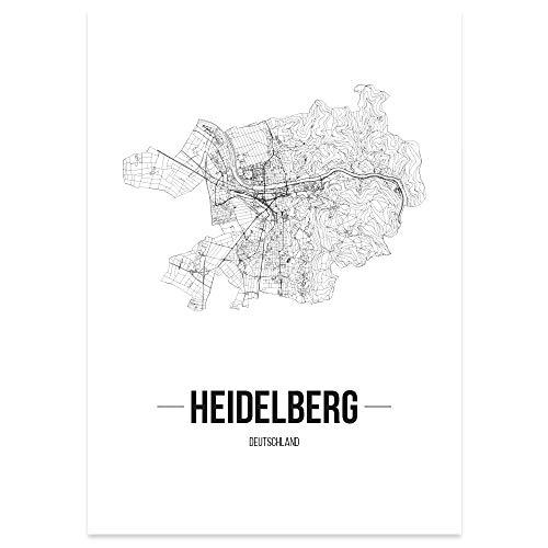 JUNIWORDS Stadtposter, Heidelberg, Wähle eine Größe, 30 x 40 cm, Poster, Schrift B, Weiß