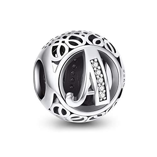 Abalorios Charms Colgantes de Alfabeto Cuentas Plata de Ley 925 con Circonita cúbica Transparente Compatible con Pulsera Pandora & Europeo, Charms de Letra