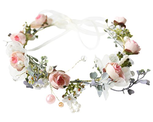 Pearl Flower Crown Floral Garland Headband Flower Halo Headpiece Hair Wreath Boho with Ribbon Party Wedding Festival Photos Pink by Vivivalue