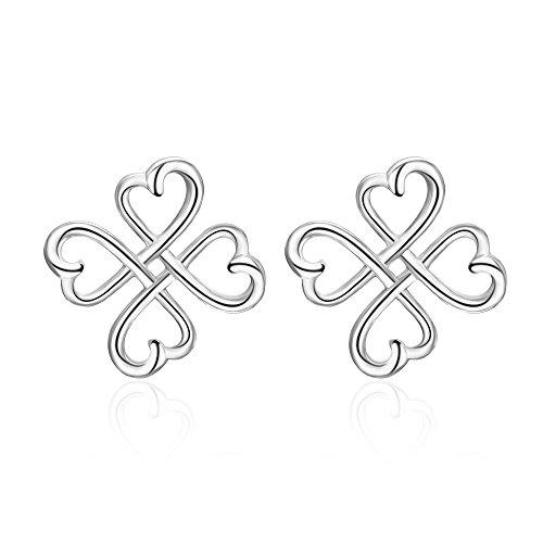 Celtic Knot Stud Earrings Sterling Silver Irish Good Luck Celtics Loving Heart Clover Earrings Studs Jewelry Gifts for Women Teen Girls