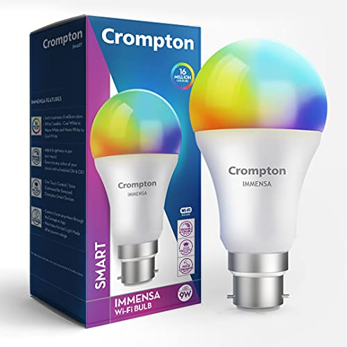 Crompton Immensa Smart Base B22 9 Watt Wi-Fi Enabled LED Bulb (16 Million Colors, Compatible with Alexa and Google Assistant) - Pack of 1