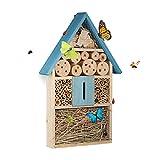 Relaxdays, bleu Hôtel à insectes à suspendre maison à papillon bois jardin balcon abeilles coccinelles HxlxP: 48,5 x 31 x 7 cm, 7 x 31 x 48,5 cm