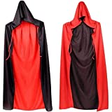 Black Red Reversible Hooped Cloak Dress Up for Goth Devil Pirate Vampire Demon, Knight Fancy Cool Cosplay Costume,Hooped Cloak Cape for Halloween Christmas Party Props 35'(Black and Red Hooped)