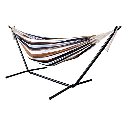 Double Hammock with Space Saving Steel Stand Up to 450 Lbs Includes Portable Carrying Case for Patio Yard and Beach Indoor Outdoor Use