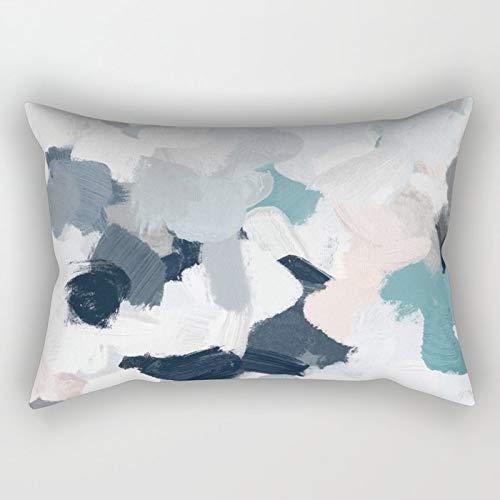 N/A Funda de cojín azul marino, índigo, rosa, gris, menta, abstracto, nubes de aire, pintura de cielo, rectangular, para sofá, decoración del hogar, 50 x 76 cm