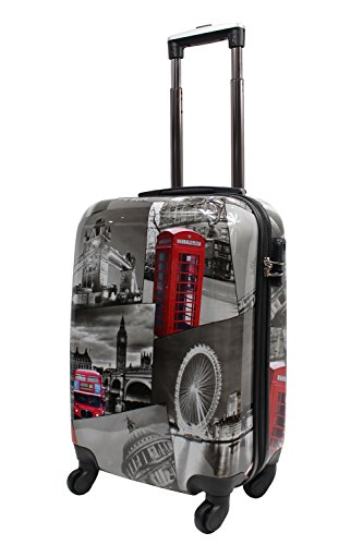 Lightweight 4 Wheel Hard Shell PC London Printed Luggage Suitcase Cabin Travel Bag (Small 20' (Cabin Size))