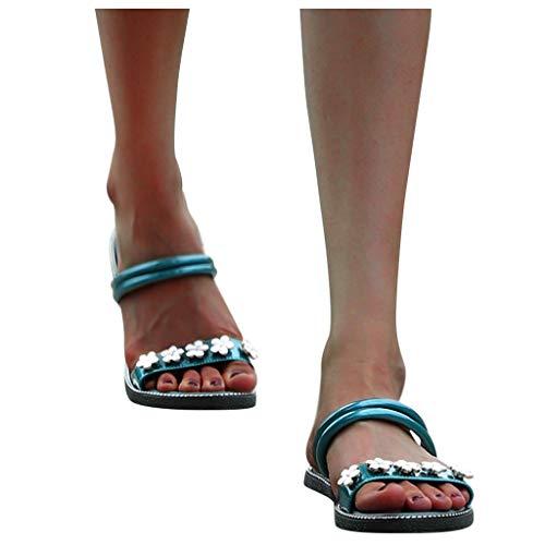 Best Buy! Behkiuoda Women Plus Size Ladies Sandal Casual Slides Slipper Beach Flower Flat Shoes Gree...