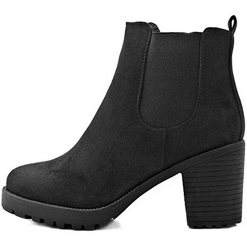 FLY 4 Chelsea Boots Plateau Stiefeletten in vielen Farben und Mustern (38, Schwarz Samt)