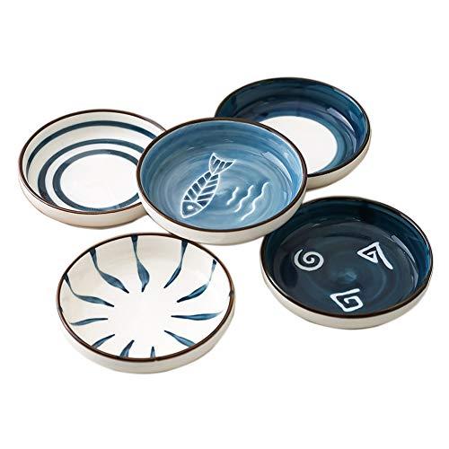 ACYOUNG 5-teilig Snackschalen Set, Mini Gewürzschale, Ø 8,7 cm Keramik Untertassen kleine Teller