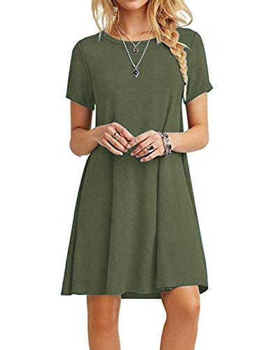 MOLERANI Women's Casual Plain Short Sleeve Simple T-Shirt Loose Dress Army Green L
