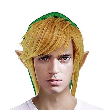 Link Cosplay Wig Glod Hair Legend of Zelda Halloween Costume Wig Gold