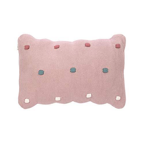 LÄSSIG Baby Strickkissen rund Bio-Baumwolle Dots dusky pink, rosa, 35x6x22 cm 1542013799