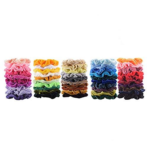 Dinglong Cheveux De Velours élastiques Cheveux Bobbles Bandes De Cheveux Colorés Queue De Cheval 50PCs