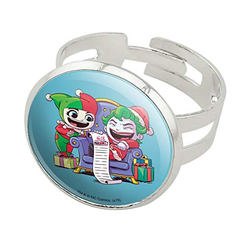 GRAPHICS & MORE Harley Quinn and Joker Naughty List Silver Plated Adjustable Novelty Ring