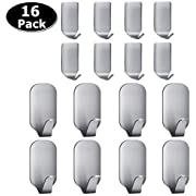 Adhesive Hooks,Heavy Duty Wall Hooks Stainless Steel Ultra Strong Waterproof Hanger for Keys, Towel, Coat, Bags, Robe, Home, Kitchen, Bathroom - 16 Pack