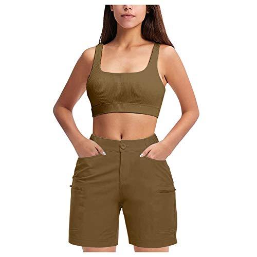DUTIS Pantalones cortos casuales para mujer, con bolsillos con cremallera, para verano,...