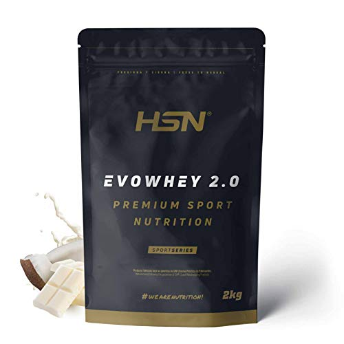 Concentrado de Proteína de Suero Evowhey Protein 2.0 de HSN   Whey Protein Concentrate  Batido de Proteínas en Polvo   Vegetariano, Sin Gluten, Sin Soja, Sabor Chocolate Blanco Coco, 2Kg