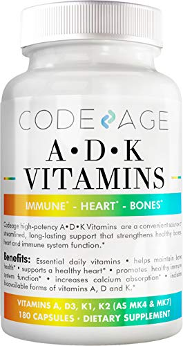 Codeage ADK Vitamin Supplement - 6 Months Supply - Daily Vitamins A D K Pills - Vitamin A, 5000 IU Vitamin D3, Vitamin K1 & K2 (MK7 and MK4) - Non-GMO Multivitamin - 180 Capsules