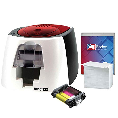Badgy200 Color Plastic ID Card Printer with Complete Supplies Package with Bodno Bronze Edition ID Software