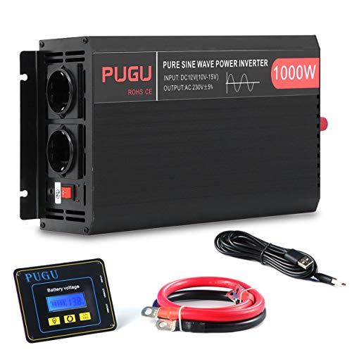 Uniquelove Wechselrichter Reiner Sinus 1000W 2000W Spannungswandler 12V auf 230V und Fernbedienung Spannungswandler Reiner Sinus Sonnensystem Inverter Pure Sine Wave