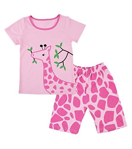 YoungSoul Conjuntos de Pijamas para Niñas - Pijamas de Manga Corta con Estampado Jirafa - Pijamas de Verano Infantil