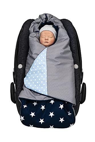 ULLENBOOM Arrullo bebé para verano e invierno | Manta envolvente para el cochecito, silla de paseo | 0-9 meses, certificado | azul claro gris