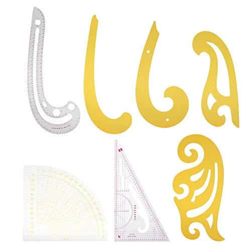 Agatige Juego de Reglas de Costura de 7 Piezas, Reglas de Arco Recto con Coma de Curva Francesa para Corte de Bricolaje, Dibujo, diseño de Ropa