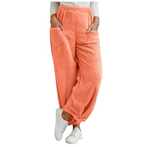 Pantalones térmicos largos de invierno para mujer, pantalones de forro polar, pantalones de deporte, de felpa, cálidos, sueltos, informales, pantalones de yoga, pantalones de pijama.