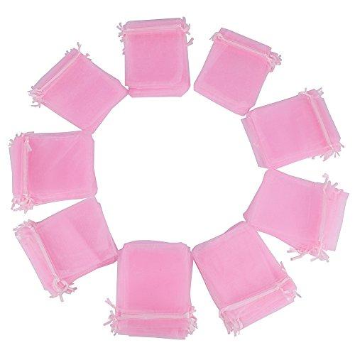 100x Bolsas de Organza Regalo Rosa (10x12cm) Bolsitas para Caramelos Recuerdos Invitados de Boda Fiesta Cumpleaños Navidad Halloween