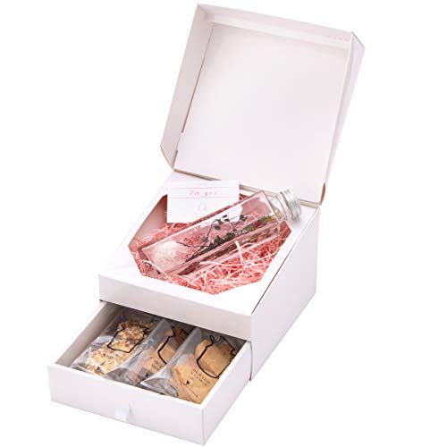 &Preser プリザーブドフラワー クッキー ハーバリウムボールペン BOXギフト プレゼント 女性 カード付 (ボトルガーデン ワインレッド For you)