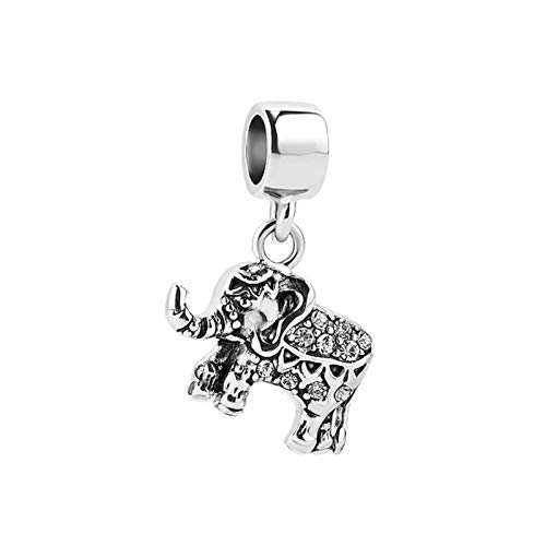 MiniJewelry Elephant Lucky Charm for Bracelets Women Animal Dangle Charm fits Pandora Charms Bracelets, Clear Cyrstal