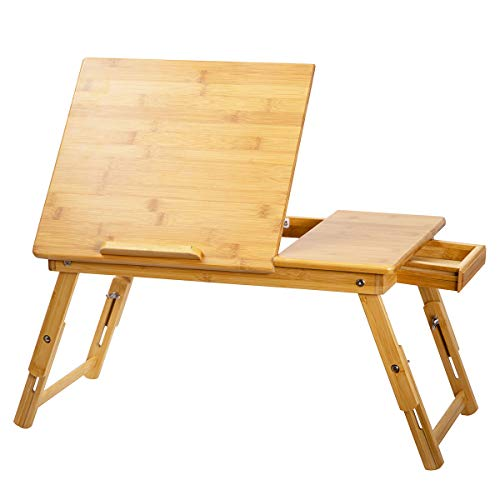 ZHU CHUANG Bed Desk - Multifunctional Lap Desk Breakfast Bed Table Serving Tray Laptop Desk for Sofa with Foldable Legs Natural Color 100% Solid Bamboo