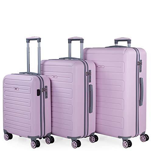 SKPAT - Juego de Maletas con USB de Viaje 4 Ruedas Trolley ABS. Rígidas Duras Prácticas Cómodas y Ligeras. Candado TSA. Tamaños Pequeña Mediana y Grande. Calidad y Diseño. 175000, Color Rosa