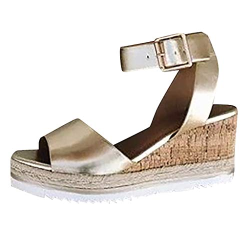 Aniywn Peep Toe Sandals, High Heel Platform Wedges Sandals, Ankle Buckle Strap Casual Shoes for Women Gold