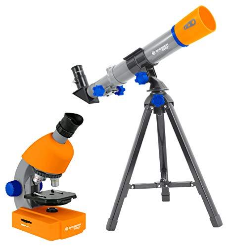 Bresser Junior Mikroskop & Teleskop Set mit Mikroskop 40x-640x Vergrößerung und 40/400mm Teleskop für Kinder ab 8 Jahren