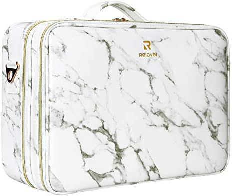 MONSTINA Makeup Case 3 layer Large Cosmetic Organizer Marble Pattern PU Water proof Makeup Bag product image