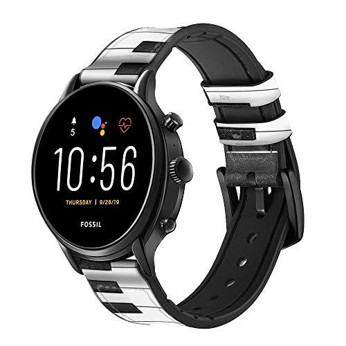 Innovedesire One Octave Piano Smart Watch Armband aus Leder und Silikon für Fossil Mens Gen 5E 5 4 Sport, Hybrid Smartwatch HR Neutra, Collider, Womens Gen 5 Größe (22mm)