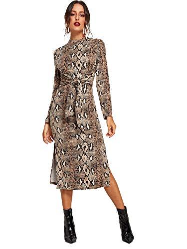 Floerns Women's Snakeskin Print Long Sleeve Tie Waist Midi Dress Multi S