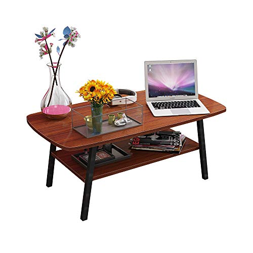 Table XIAOYAN Basse, Petite à thé carrée Nordique en Bois Massif, 2 tablettes de Rangement avec Pied en Acier Noir, 5 Couleurs 100X50X43cm (Couleur : B)