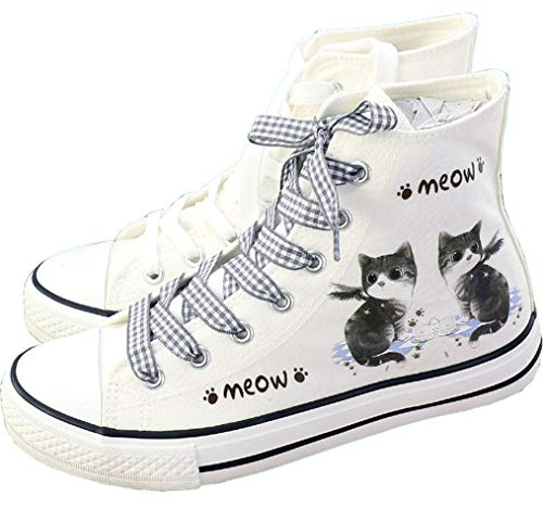 Frelo Girls Cat Shoes Canvas Sneaker High Top Lace Up Cute Canvas Shoes (Little Kid 3 M) White