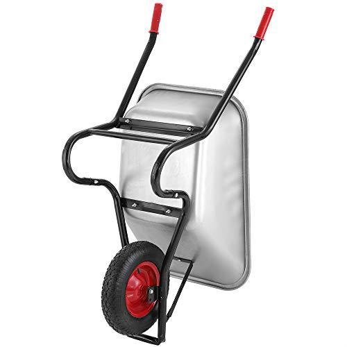 Monzana® Schubkarre 100 Liter | bis 250kg Belastbarkeit | Luftreifen mit Stahlfelge | verzinkt | stabile Ausführung mit Aufliegewanne | Bauschubkarre Gartenschubkarre - 4