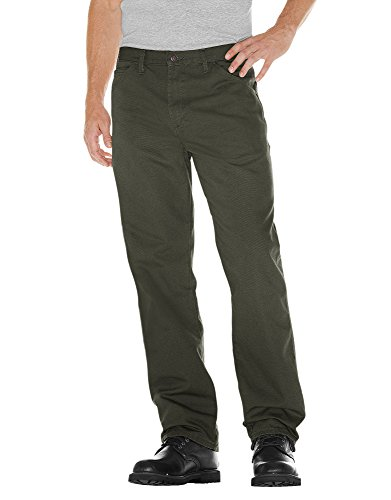 Dickies Men's Relaxed Fit Straight-Leg Duck Carpenter Jean, Moss, 34W x 30L