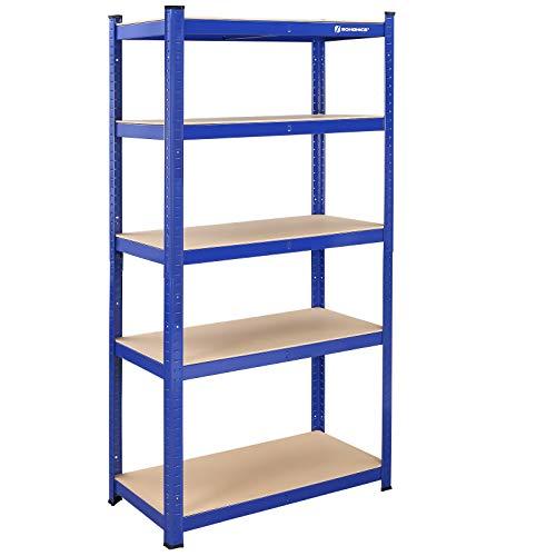 SONGMICS GLR45Q - Scaffalatura per carichi pesanti, 180 x 90 x 45 cm, portata fino a 1325 kg, 5 ripiani regolabili, in metallo, scaffalatura a incastro, per officina, cantina, garage, blu