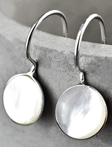 Mini Ohrringe Perlmutt - Silber 925 Sterling - Ohrhänger Set mit Geschenkbox