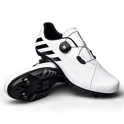 JINFAN Zapatillas De Ciclismo SPD MTB para Hombres Y Mujeres Ideales para Bicicletas De Montaña Ciclo De Fondo XC Incluidas,White-43EU=(267mm)